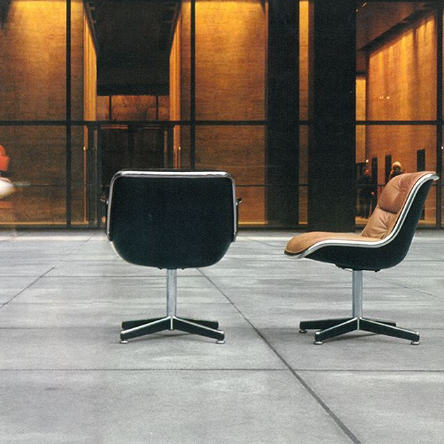 Happy Birthday Charles Pollock, the acclaimed industrial designer who was born on this day in 1930. Pollock's ever-popular Executive Chair is pictured here in front of the Seagram Building and in an unfinished office tower, photographed in 1973 by Jon Naar. #knoll #modernalways #charlespollock #jonnaar #pollockchair #furnituredesign