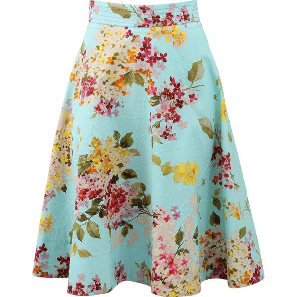 Blumarine Floral Printed Circle Skirt (£515) ❤ liked on Polyvore featuring skirts, bottoms, floral circle skirt, floral skirt, floral a line skirt, knee length skirts and blue skirt