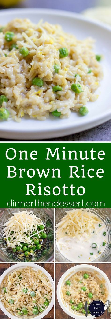 One Minute Brown Rice Risotto with garlic, peas and lemon makes the perfect on the go meal that feels like you spent all day in the kitchen in just one minute in the microwave. MixInMinute AD