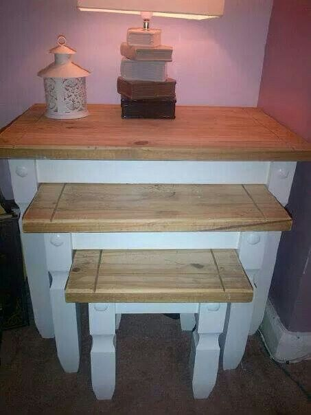#ShabbyChic mexican pine revamp nest of tables #Naberry