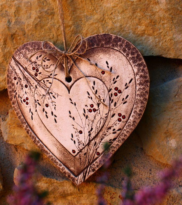 Srdce+1.+Keramické+srdce+rozměr+26+x+26+cm+Originál+Kronmon74+Monika+Kronďáková