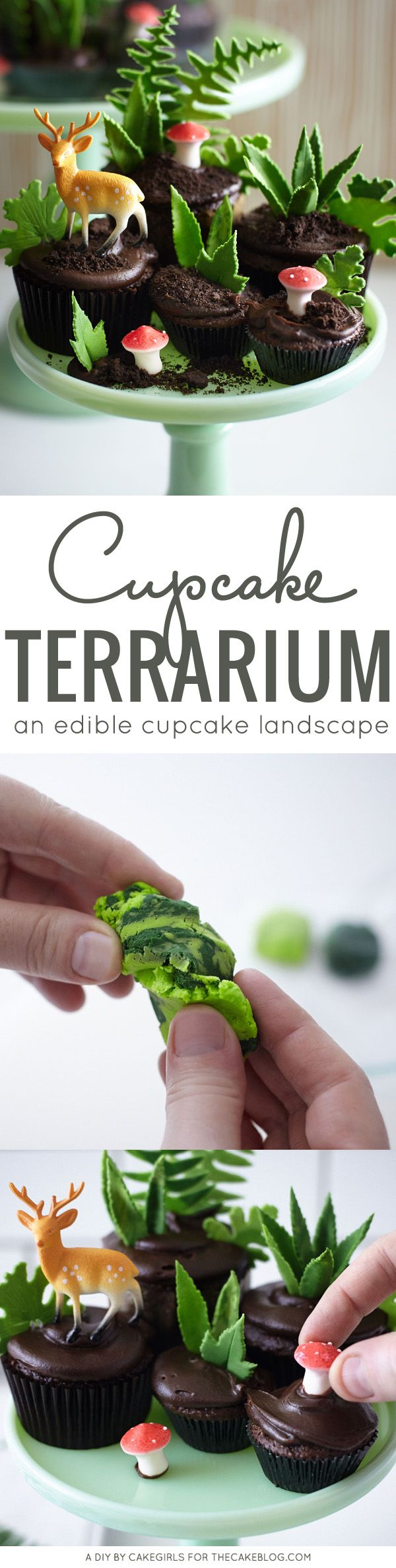 an edible cupcake landscape | DIY Cupcake Terrarium | a cake tutorial by Cakegirls for TheCakeBlog.com
