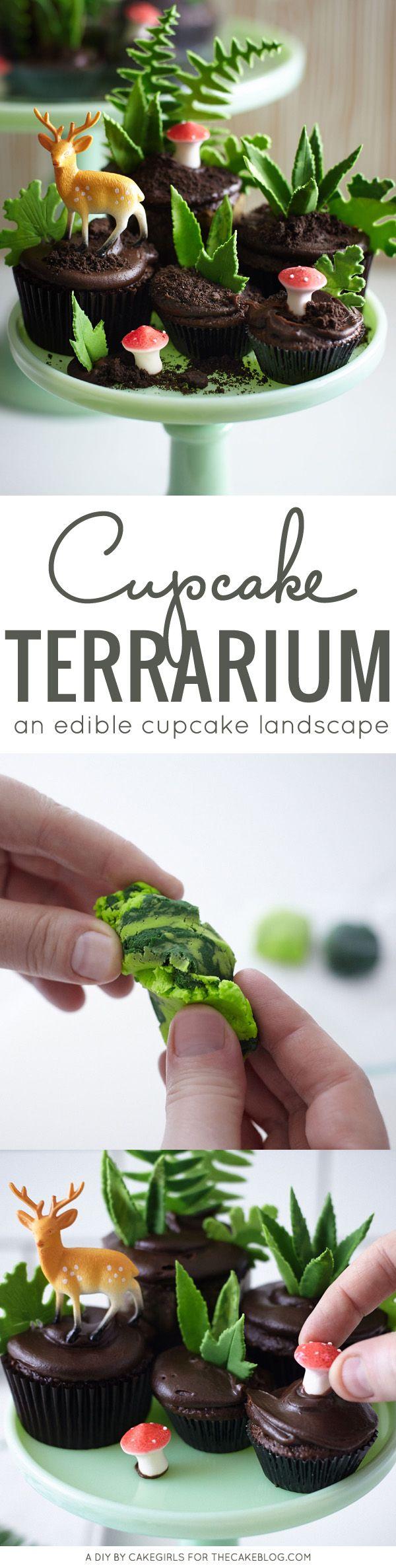 an edible cupcake landscape | DIY Cupcake Terrarium | a cake tutorial by Cakegirls for TheCakeBlog.com