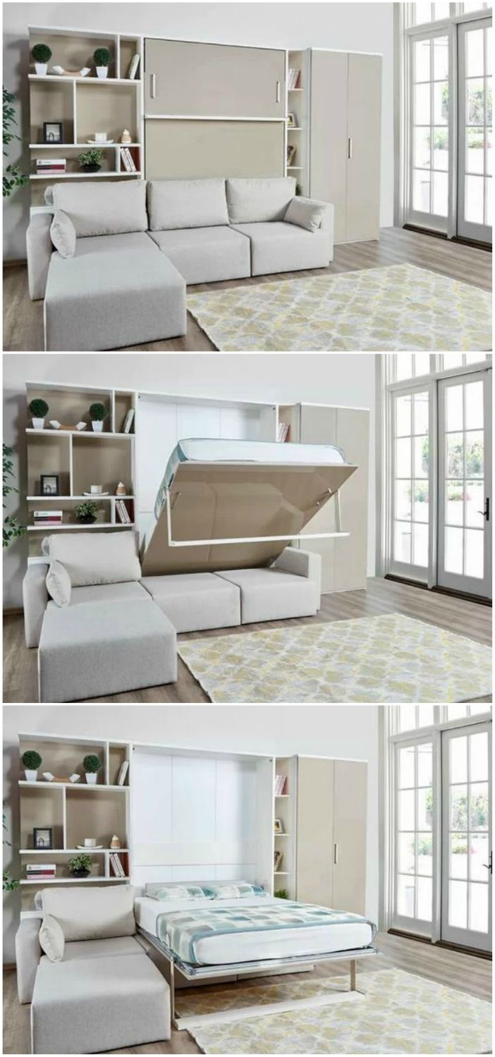 10 Murphy Beds That Convert Any Room To A Bedroom In Seconds Living In A Living Room And Bedroom Combo Bed In Living Room Modern Murphy Beds Murphy bed in living room