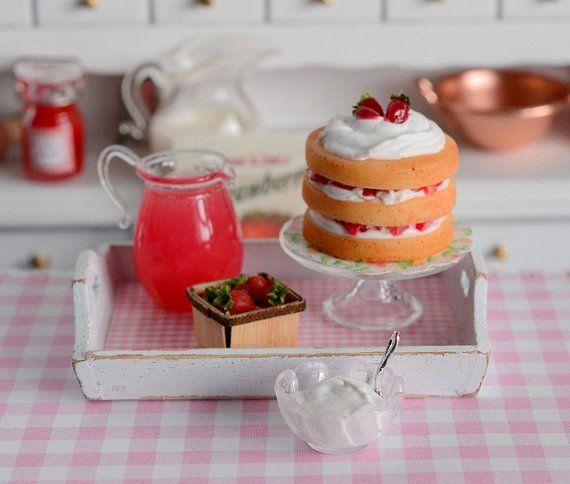 Miniature Triple Layer Strawberry Shortcake by CuteinMiniature, $42.00