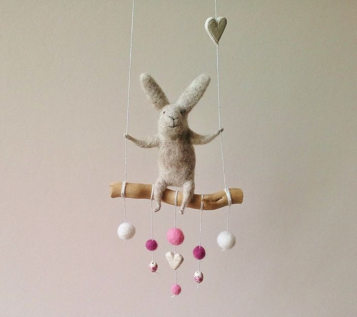 Light Gray bunny Mobile Felted Animal Felted Bunny by healoom