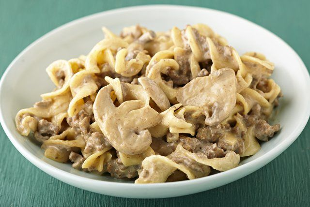 Mushroom pieces, cut-up VELVEETA and sour cream make a great comfort-food canvas for this beef and noodle skillet main dish.