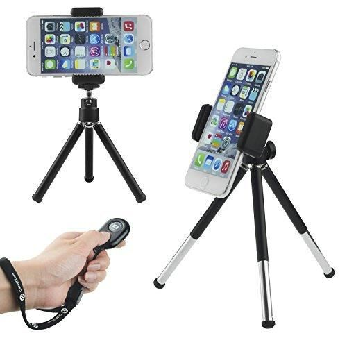Camkix Universal Adjustable Tripod  Bluetooth Remote - including Tripod / Universal Phone Holder / Velvet Phone Bag / Microfiber Cleaning Cloth - Suitable for iPhone Samsung and Most Other Phones