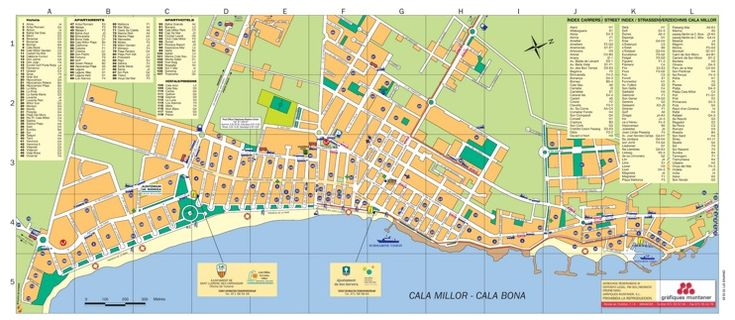 Cala Bona and Cala Millor hotel map