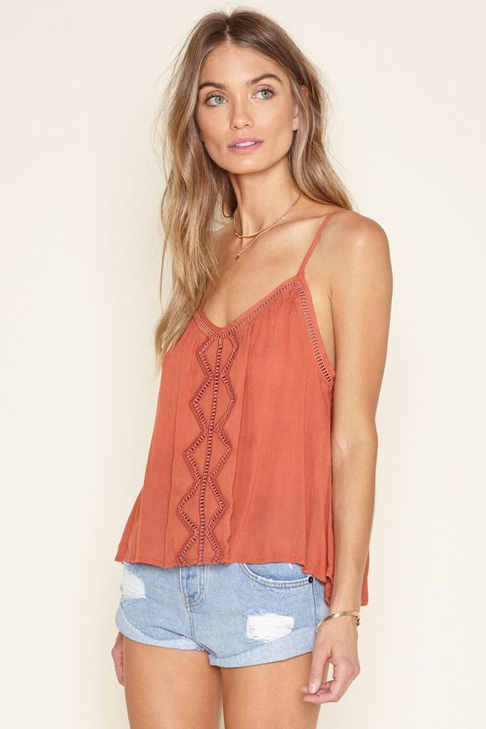 Delphine Top from Amuse Society is a clay coloured cami top with lace detail.