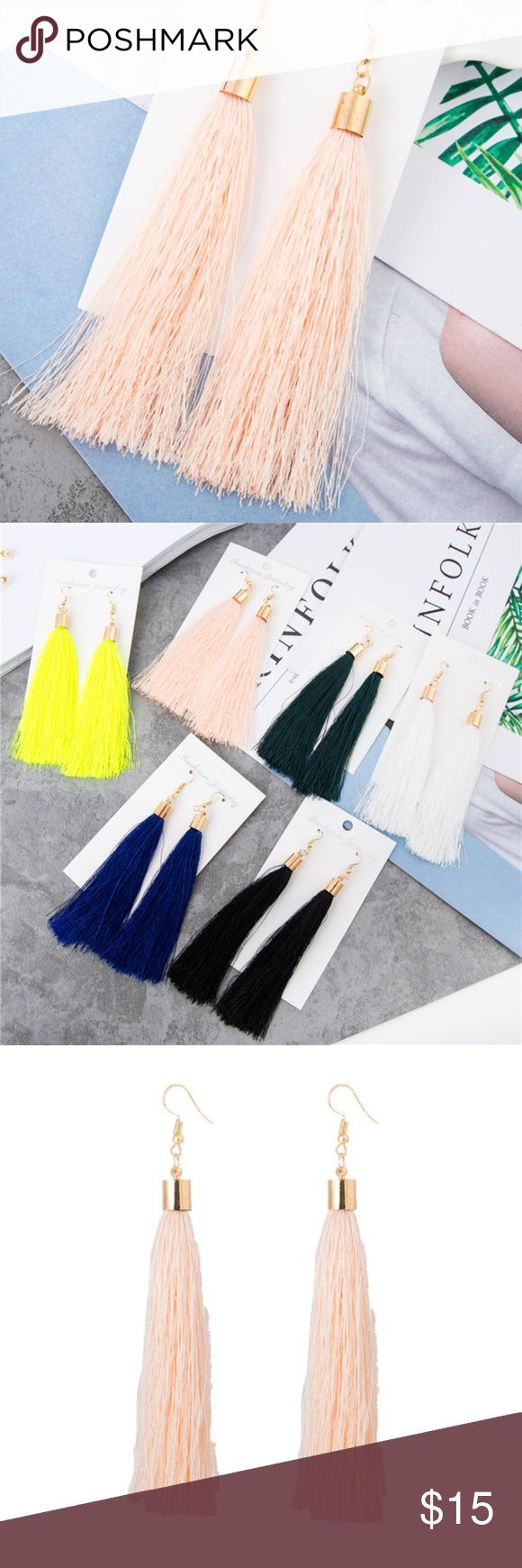 "Long Pink Tassel Earrings with Gold Hardware Long Pink Tassel Earrings with Gold Hardware. Tassel is approximately 9cm, earring drop is roughly 4"". New in package! Jewelry Earrings"