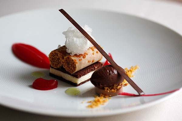 Praline and chocolate cheese cake, caramel, #chocolate #sorbet    The Vineyard at Stockcross, Newbury, Berkshire