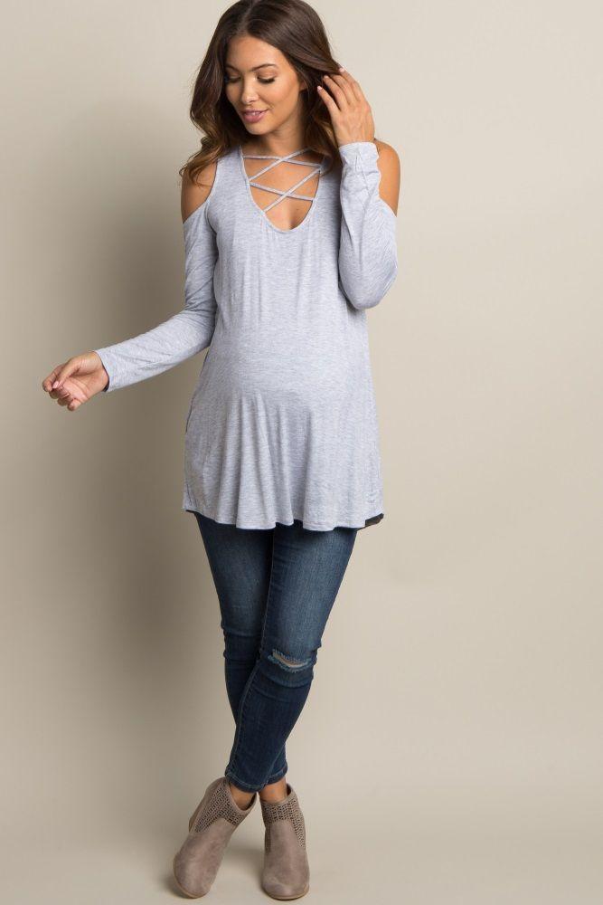 9beee3055b884 Heather Grey Crisscross Cutout Cold Shoulder Maternity Top ...