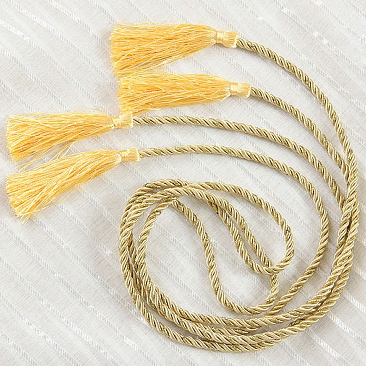 Yellow and gold wholesale curtain holdbacks Curtain Accessories rope home window curtain tie backs decoration