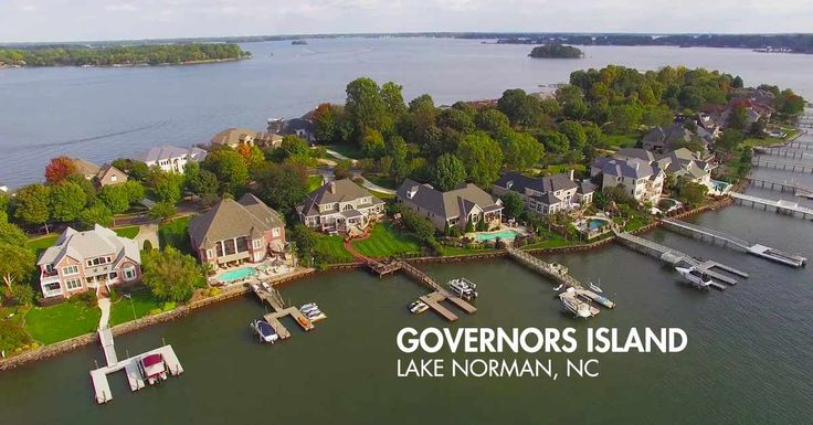 Watch the stunning Aerial Video Guide for Governors Island in Denver NC, See large pictures from the water and view available homes for sale.  #Denver #NC #Governors #Island