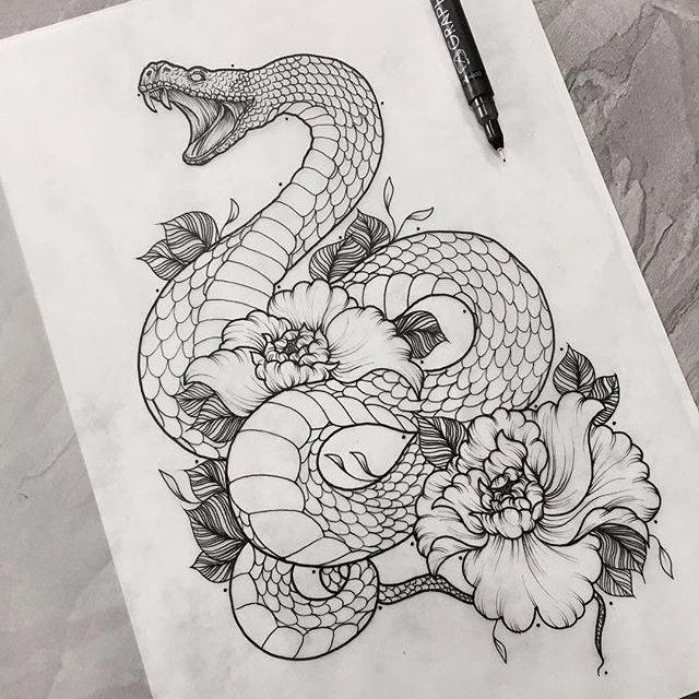 Tattoo art snake flowers lining omg tho # snake flowers #tatow … #drawings #art