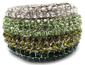 Glamorous Dome Shaped Cocktail Fashion Statement Ring Covered in Multi- Green Color Crystals with Stretch Band Rings by Glamour Girl Gifts. $18.99