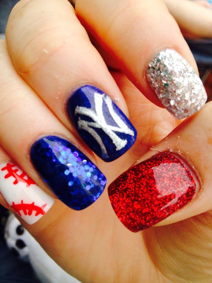New York Yankees Baseball 4th of July Acrylic Nails