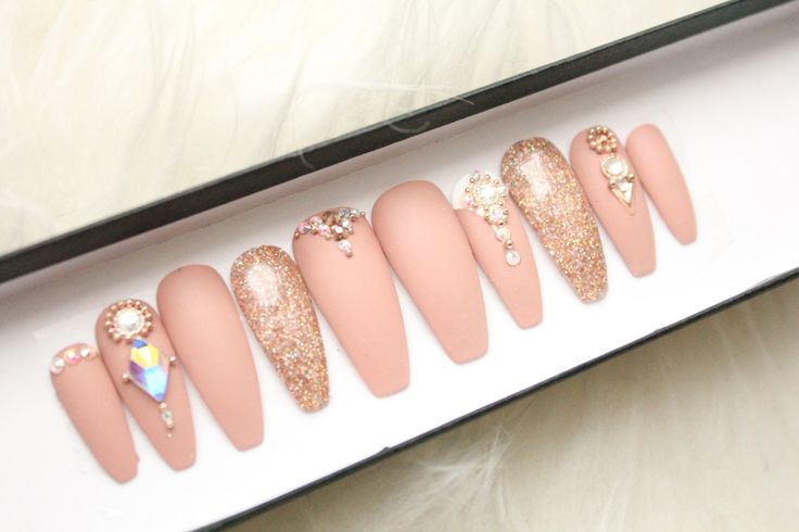 Nude Matte Swarovski Press on Nails | Genuine Swarovski | Rose Gold | Glitter | Handpainted Nail Art | Glue On Nails | Any Shape Size by DippyCowNails on Etsy