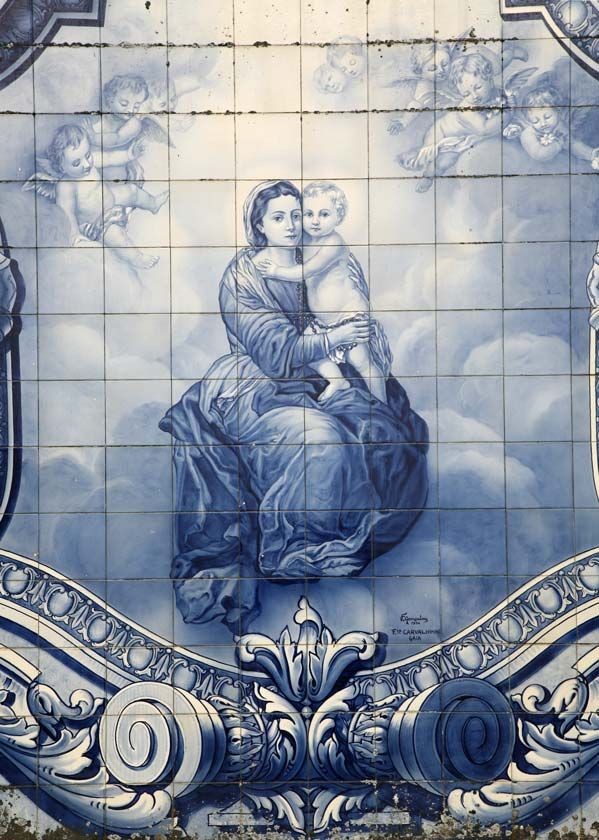 Azulejos depection of Mary and Jesus on the stairway to Santuário Nossa Senhora dos Remédios in Lamego