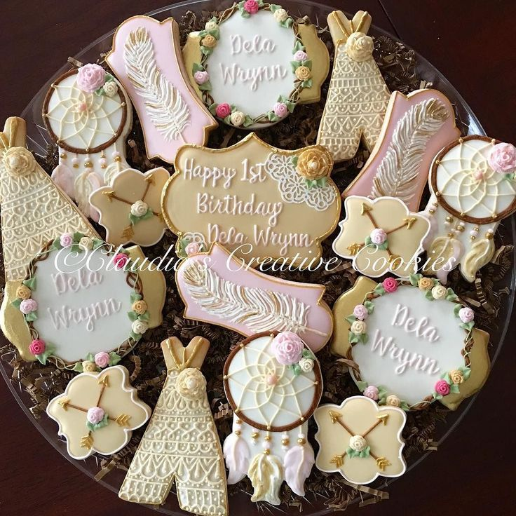Shabby Floral Boho Cookies