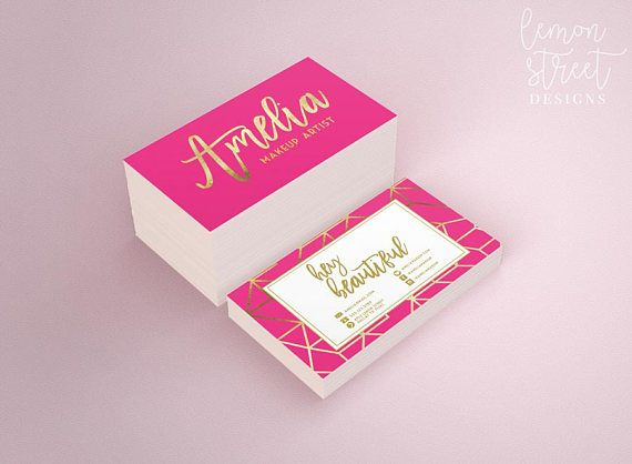 Fancy Silk Laminated Printed Business Cards Hot Pink And Gold Foil Stamped With Real Foil Pink Business Card Beauty Business Cards Gold Business Card