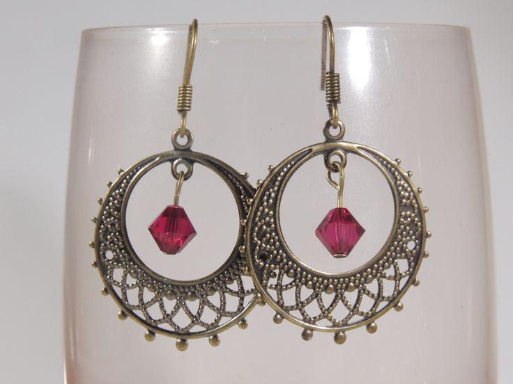 Ruby red Swarovski Crystal antique gold chandelier earrings