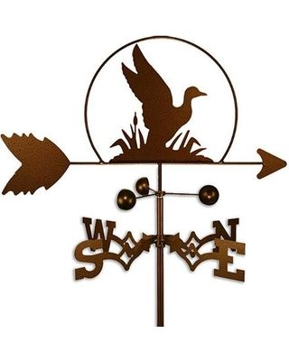 Take a look at local weather conditions in a glance with this duck-shaped handmade steel weathervane. The weathervane features a copper-colored powder-coat paint that gives it a rustic appearance while protecting the steel from the elements.