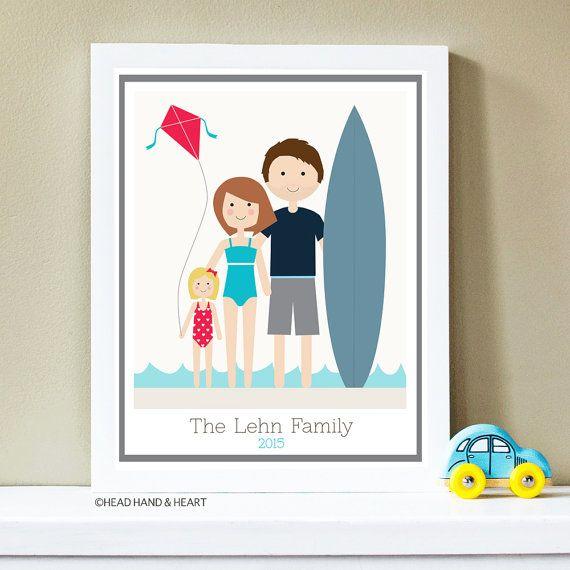 Custom Portrait,  Beach Portrait, Family Portrait, Fathers Day, Family Illustration, Surf, Ocean Portrait