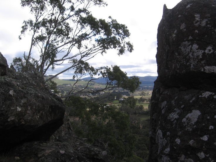 """I took this shot of a view from Hanging Rock, outside of Woodend, Victoria, Australia. It is a rock formation called mamelon, created by magma. It's a fascinating place with terrific views. Also the setting for the movie """"Picnic at Hanging Rock."""""""