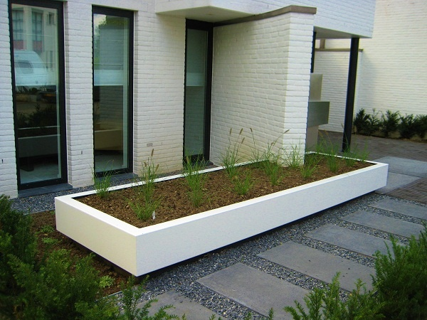 Floating steel planter. Design by Guy Wolfs