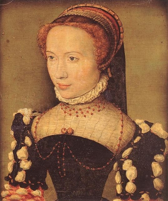 CORNEILLE DE LYON Portrait of Gabrielle de Rochechouart c. 1574 by fionasfancies via Flickr I believe her jewelry is coral beads