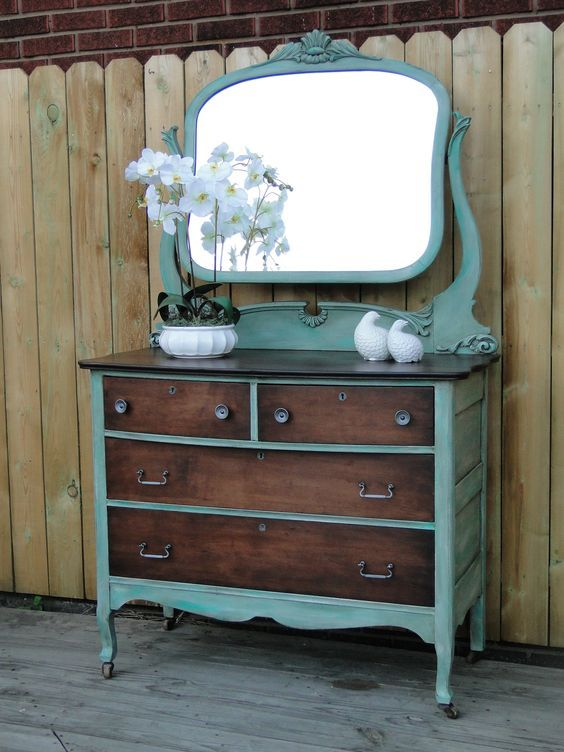 8 Repurposed Uses Of Old Mirrors.  >>I'm pinning because I love the plain wood drawers and top on this repainted dresser mirror combo. The color sets off the wood beautifully!