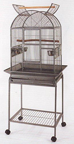 Wrought Iron Open Play Top Bird Small Parrot Cage With Metal Seed Guard and Removable Rolling Stand