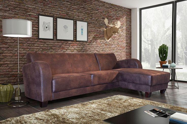 Canapé d'angle contemporain en tissu marron vieilli TYKO