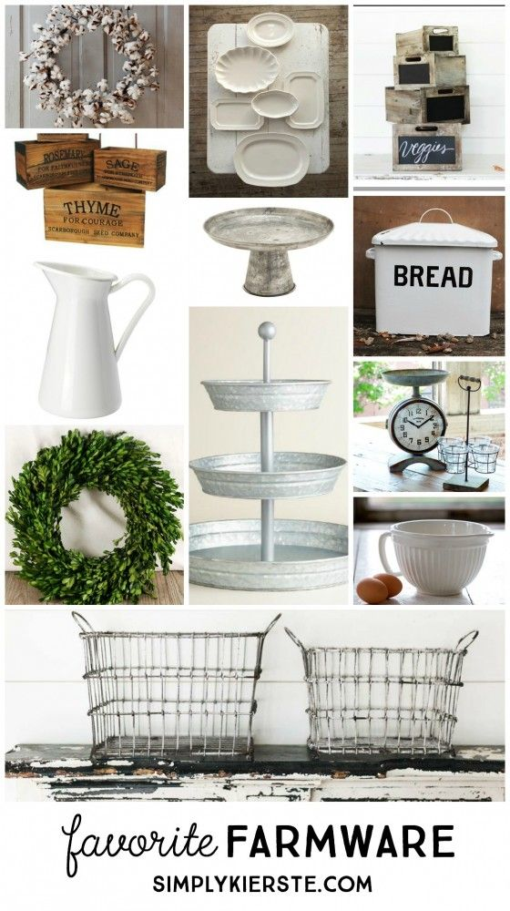 A collection of classic farmhouse accessories, plus where to find them, from Simply + Kierste.