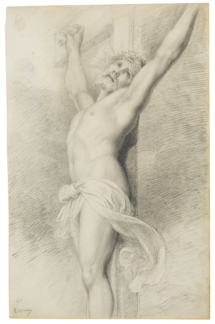 Richard Cosway, R.A. OAKFORD, DEVON 1742 - 1821 LONDON CHRIST ON THE CROSS Pencil, on laid paper watermarked: J Whatman; inscribed in a later hand lower left: R. Cosway  388 by 249 mm: