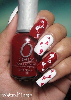 My Simple Little Pleasures: NOTD: Valentine's Hearts Red & White Drag Marble + Tutorial