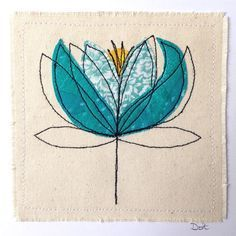 Water lily greeting card or wall art. A handmade, stitched piece of art