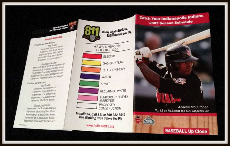 2009 INDIANAPOLIS INDIANS 811 BASEBALL POCKET SCHEDULE ANDREW MCCUTCHEN ON COVER…