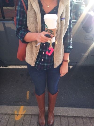 Plaid button down, fleece Patagonia vest, skinnies, cognac leather boots, watch, gold necklace