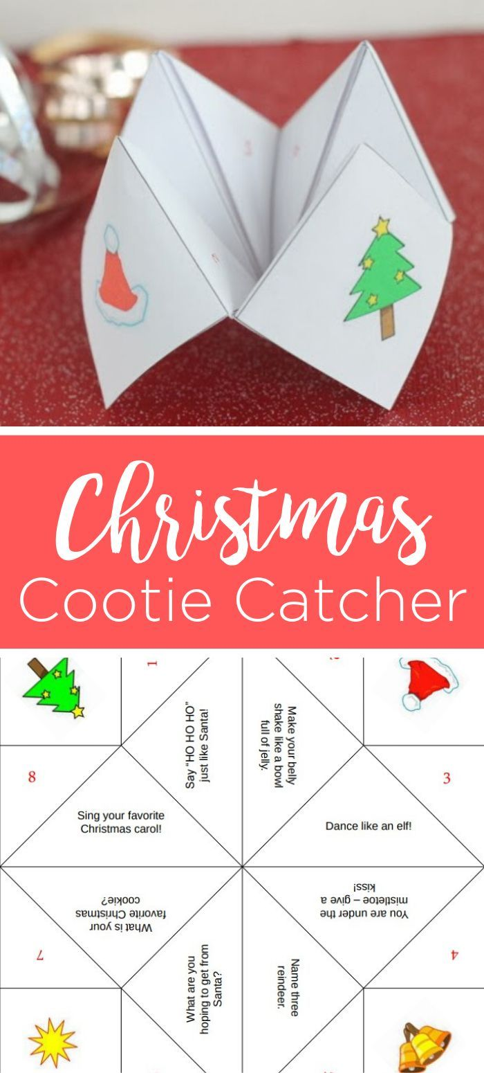 Christmas Cootie Catcher Free Christmas Printables Unique Christmas Gifts Christmas Printables