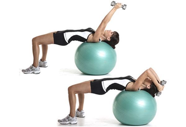 Triceps: Swiss Ball Lying Triceps Extension