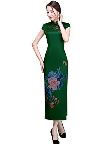 35aa9f79f98 Shanghai Story Women s Chinese Dress Faux Silk Cheongsam Floral Qipao Long  ...