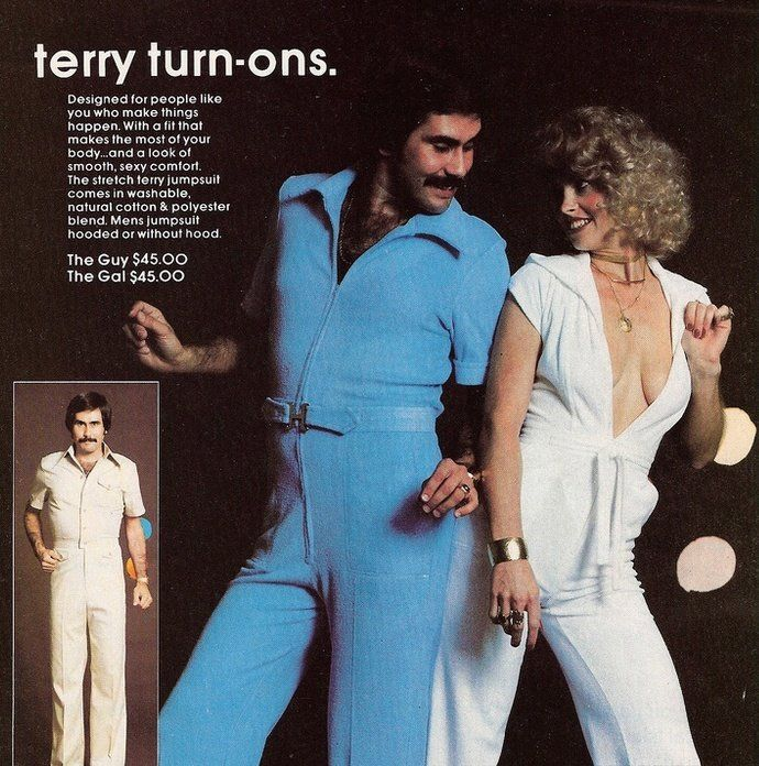 Terry Turn-Ons!  1970s disco fashions.