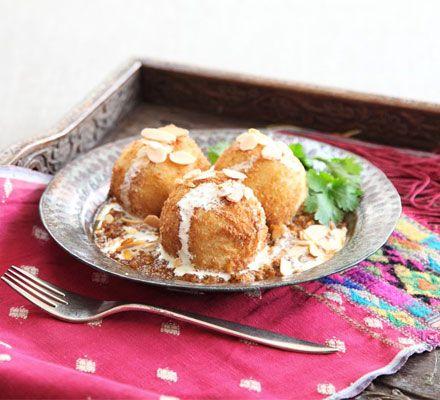 Malai Kofta with spicy gravy - looks delicious!  See http://www.bbcgoodfood.com/recipes/1648652/malai-kofta-with-spicy-gravy for this wonderful recipe