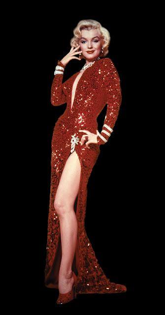 """""""Los Caballeros las prefieren rubias"""". La película empieza con la actuación de Marilyn y Jane Russell con unos vestidos de color rojo de paillettes, espectaculares."""