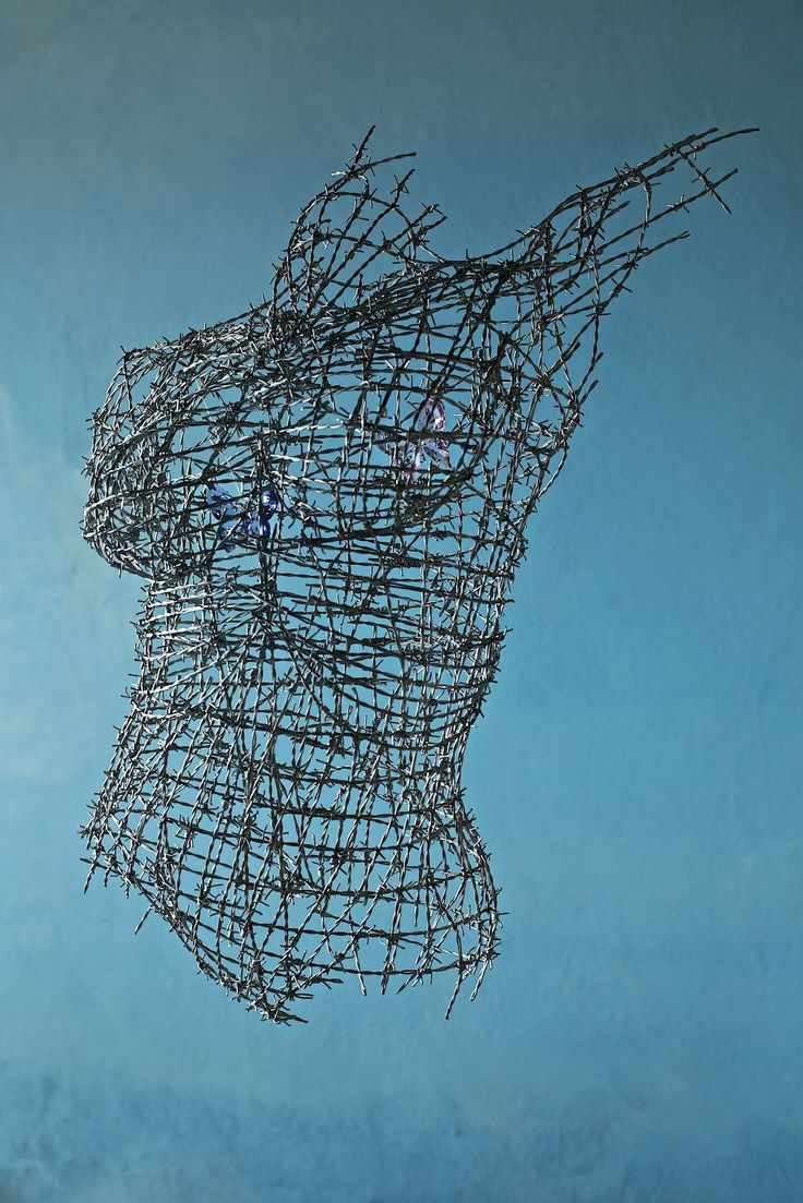 """"""" I Want to be Free """"  Barbed wire and swarovski crystal butterflies. #barbedwire #swarovskicrystals #wireart #foundart #contemporaryart #figurativesculpture"""