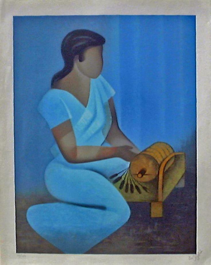 """""""Harmonie bleue"""" de Louis Toffoli (1907-1999) peintre français. La galerie Perahia (Rue Dauphine Paris 6e) expose en permanence, environ deux cents tableaux."""