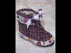 El zapato tejido con periodicos. Parte 2.
